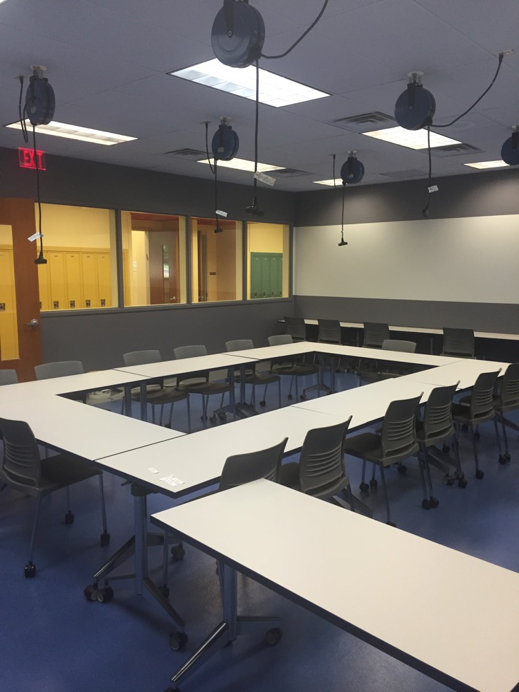 Classroom with Overhead Cord Reels